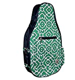 Pickleball Marketplace Ladies Printed Pickleball Sling Bag - Green & Navy - New | Designed for Pickleball