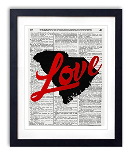 South Carolina Love Red Foil Stamped Art Print - Vintage Dictionary Reproduction Art Print