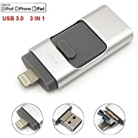 Tipmant USB 3.0 Flash Drive for iPhone 5 6 6S 7 Plus, iPad OTG Cell Phone Memory Stick Card External Storage Lightning iOS Apple Pen Drives - Silver (32GB)