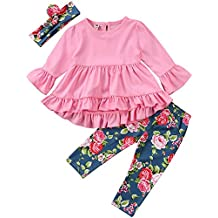 2Pcs Outfits Little Girl Pink Long Sleeve Ruffle Dress T-Shirt Floral Pants Headband/Scarf Sets