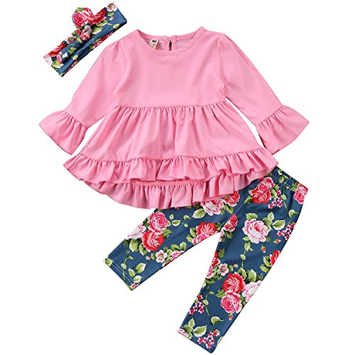 Price comparison product image Little Girl Pink Long Sleeve Ruffle Dress T-Shirt Floral Pants Headband/Scarf 3 Pcs Outfits Sets (Pink, 6-12 Months)