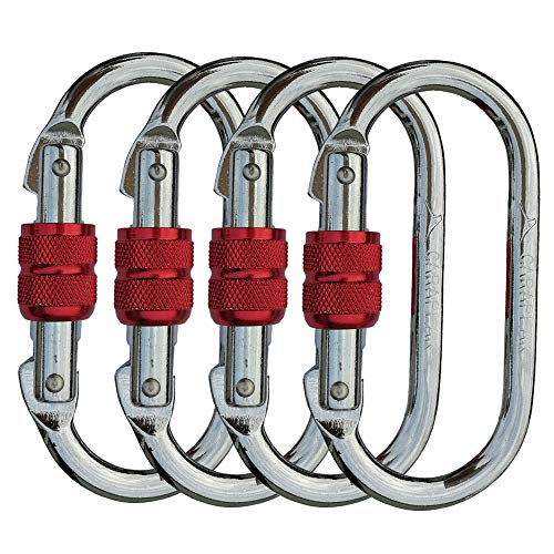 CARAPEAK 25kN Heavy Duty Steel Screwgate Locking 4 Packs Set Oval Shape Carabiner Clip, Strong Gym, Hammock, Hunting Locking, Lockable ()
