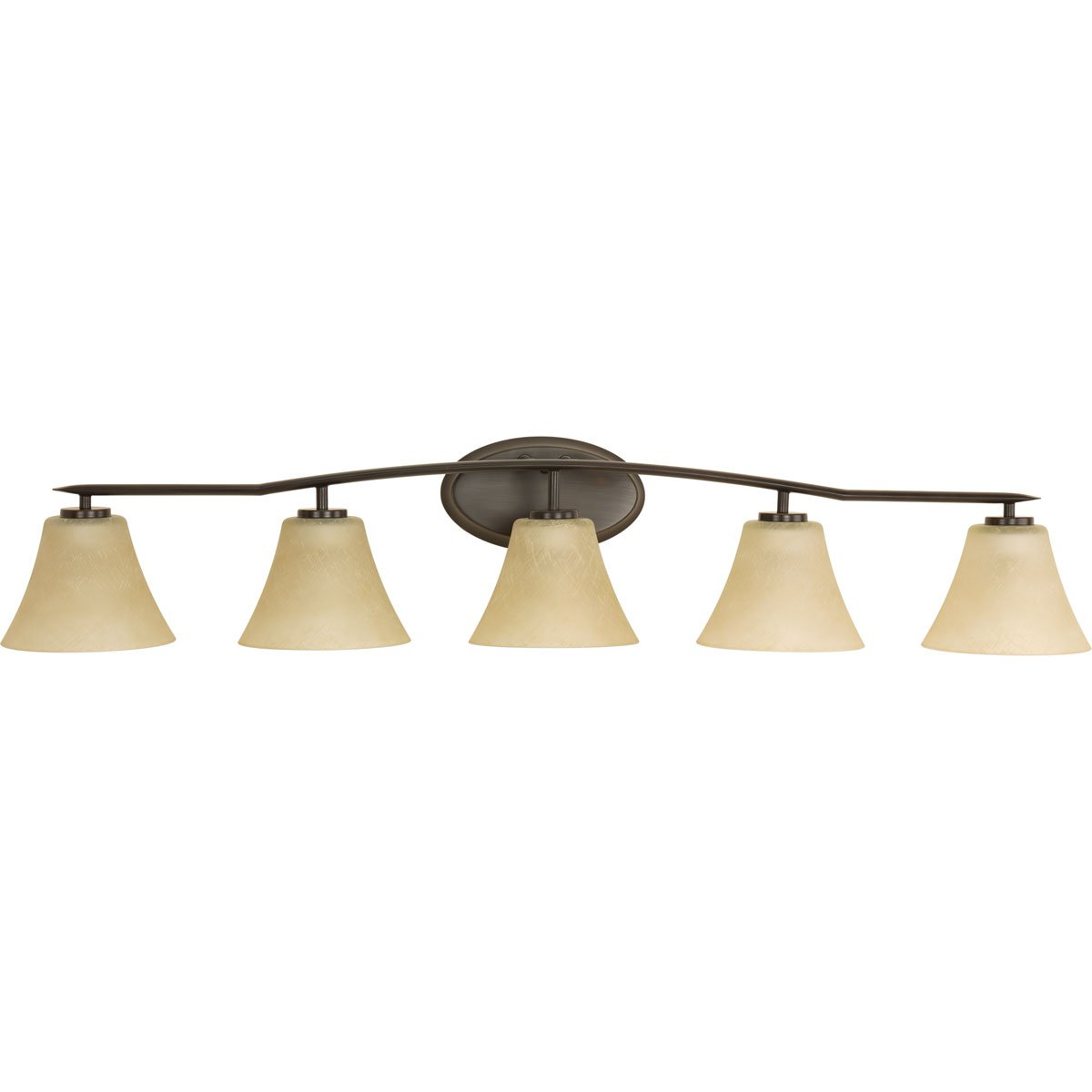 Progress Lighting P2016-20 Bravo 5-Lt. Bath and Vanity Fixture with Umber linen glass shades