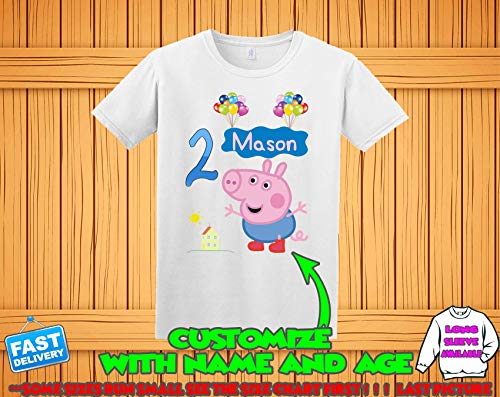 2b0e1a938 Peppa Pig Birthday Shirt for girls, Peppa Pig Custom Shirt, Personalized  Peppa Pig Shirt