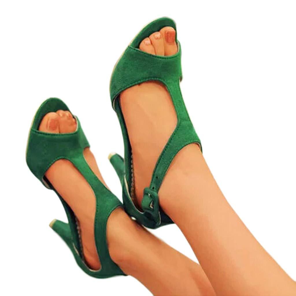 Shusuen Women's Open Ankle Toe Double Buckle Strappy Heeled Sandals Green