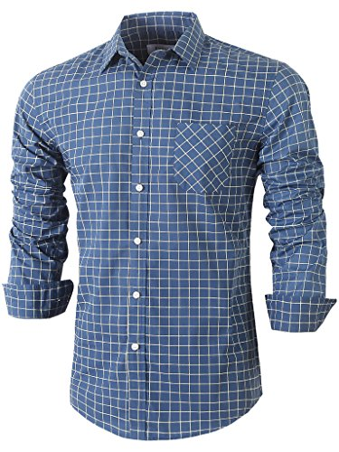 emiqude-mens-casual-slim-fit-long-sleeve-pocket-inner-contrast-plaid-dress-shirt-large-navy