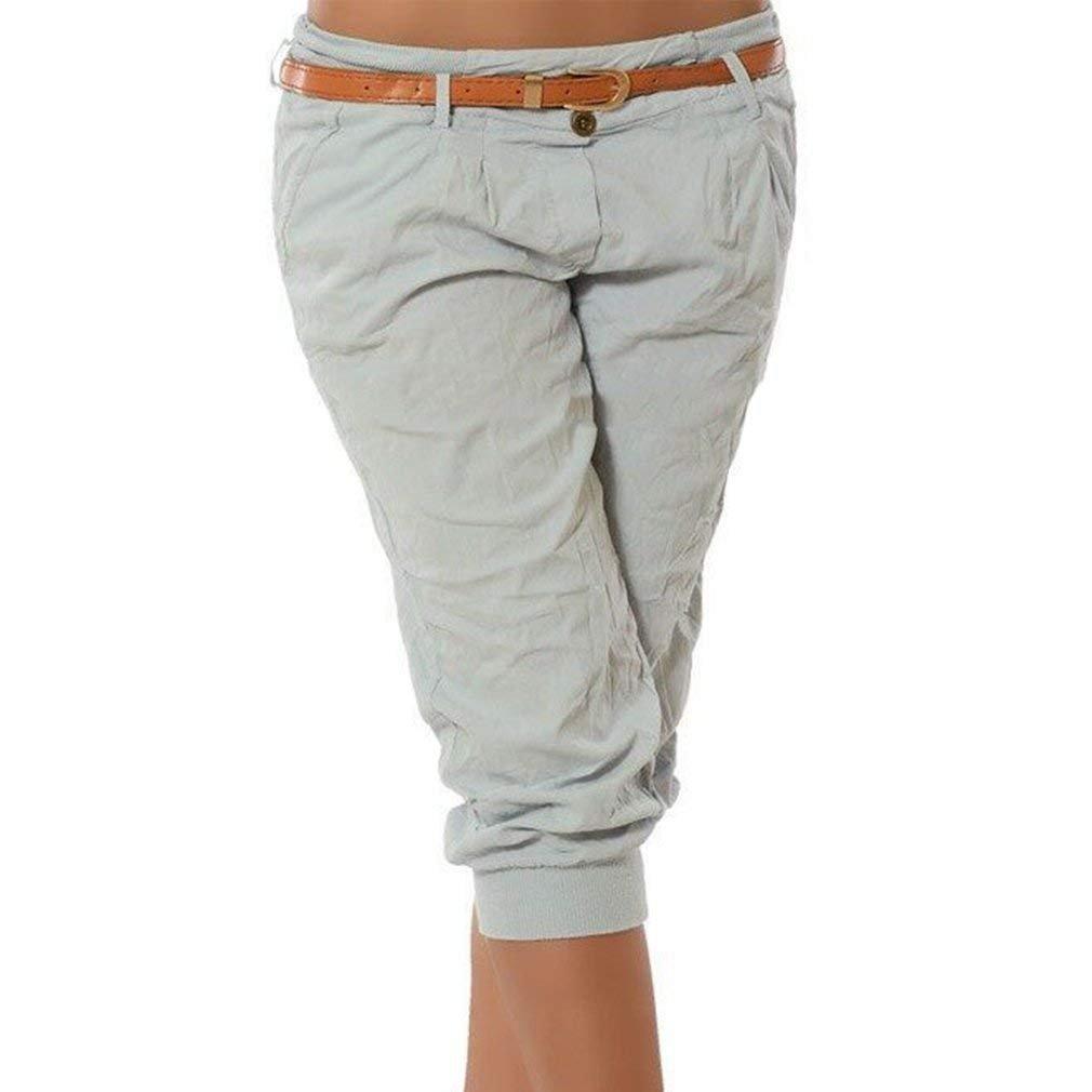 ShallGood Pantalones Capri para Mujer Pantalones Baggy Moda Color Sólido  Chino Casual Shorts 3 4 Boyfriend Cintura Elástica Yoga Pantalones Cortos  ... b06f28954c8c