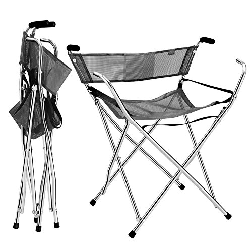 Frehsore® Canes and Walking Sticks Seat Collapsible 300lbs - Sport Folding Chair Seat Cane 4 Stool Walker for Camping (Heavy Duty Aluminum Alloy 1kg -2.2lb Weight XL Size Grey)