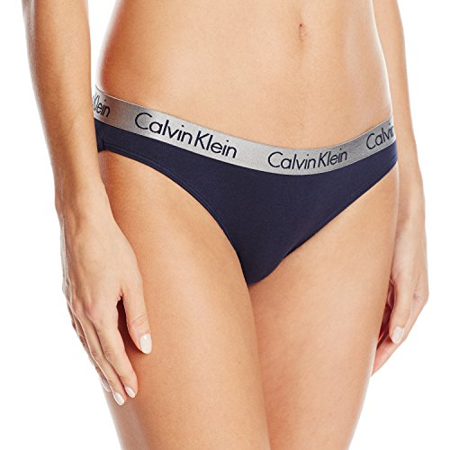 Blue Womens Underwear (Calvin Klein Women's Logo Cotton Bikini Panty, Ocean Floor, Medium)
