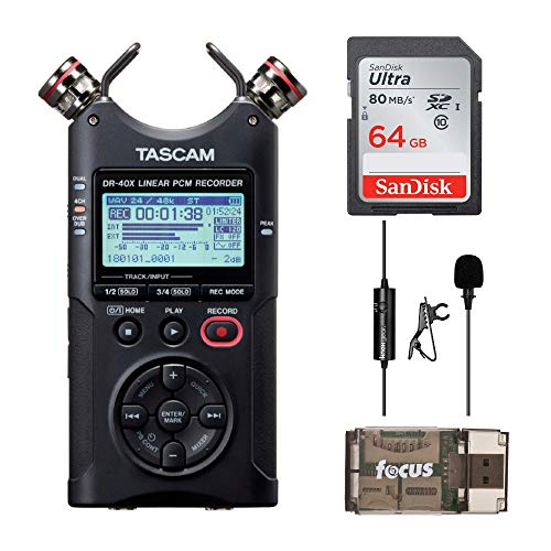 (Tascam DR-40X Four-Track Audio Recorder/USB Audio Interface with 64GB Memory Card, Knox Clip-On Lavalier Microphone and Focus USB 2.0 Card Reader)