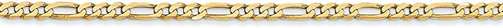 Leslies Real 14kt Yellow Gold 2.2mm Flat Figaro Chain; 8 inch