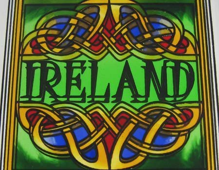 10cm Stained Glass Loose Coaster Ireland Celtic Knot And Green Ireland Text