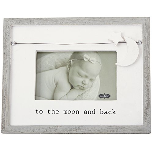 "Mud Pie""to The Moon and Back"" Nursery Picture Frame, 4"" x 6"", White/Gray from Mud Pie"