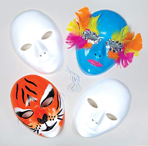 Baker Ross White Plastic Face Masks for Children to Paint & Decorate and use for Fancy Dress (Pack of 6) -