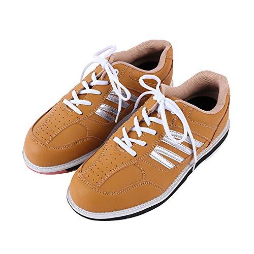 FJJLOVE Herren Bowls Schuhe, Leichte atmungsaktive Bowling Trainer Indoor Outdoor Non-Slip-Turnschuhe,Braun,41