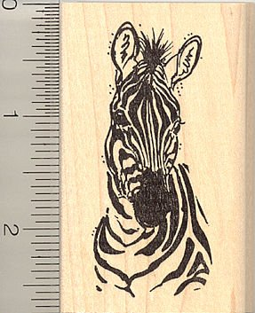 Zebra Rubber Stamp - Wood Mounted