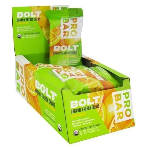 2 Packs of Probar Bolt Energy Chews - Organic Orange - 2.1 Oz - Case Of 12