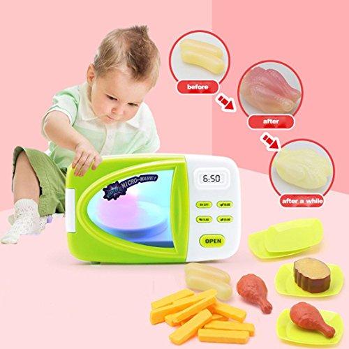 DEESEE(TM) Children Kid DIY Cartoon Imitation Microwave Baby Kid Educational Pretend Play Home Appliances Changing Light Kitchen Set Toy Gift