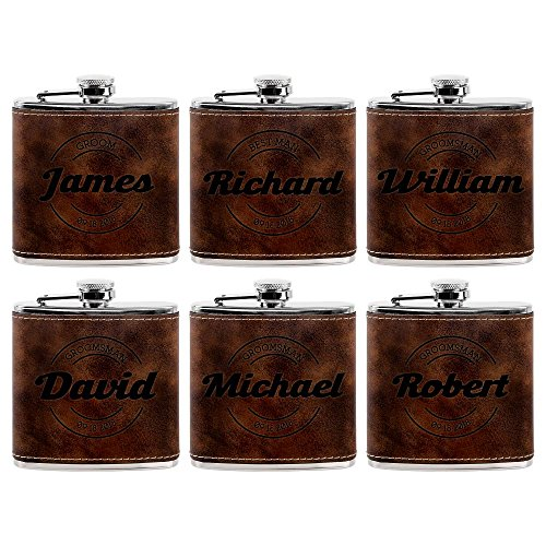 Set of 6 - Personalized Groomsmen Flasks, Groomsmen Gifts   6oz Leatherette Personalized Flask for Liquor w Optional Gift Box - Personalized Groomsman Proposal Gifts   Wedding Favor #7 (Engraved Textured Stainless Steel Flask)