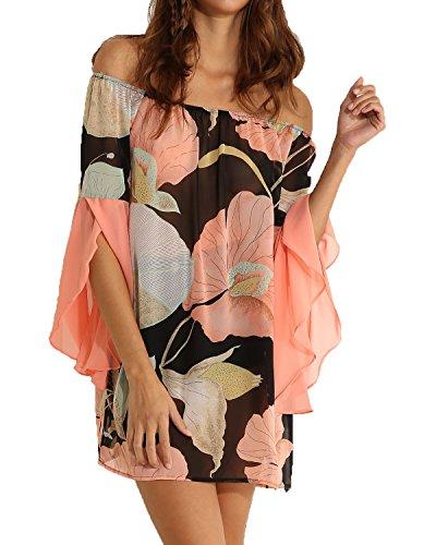 Eliacher Women's Casual Butterfly Sleeve Floral Print Chiffon Dress 6251 (L, 1)