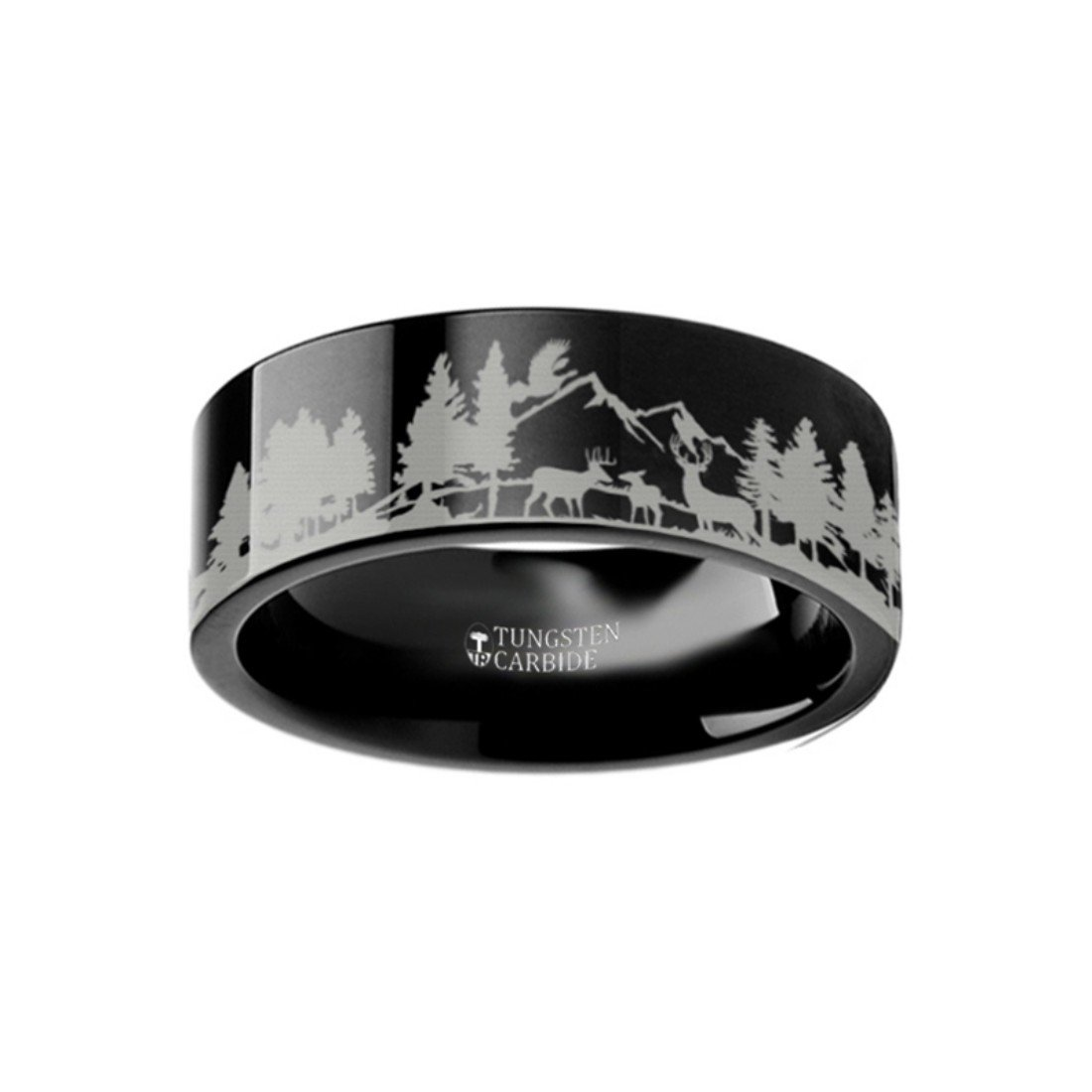 Amazon Thorsten Animal Nature Landscape Reindeer Deer Stag Mountain Range Ring Black Tungsten 6mm Wide Wedding Band From Roy Rose Jewelry Size 9: Wedding Rings Nature Scene At Reisefeber.org