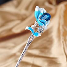 FINGER LOVE LUX Crystal Rhinestone Pearl Flower Enamel Hair Stick with Tassels (Lily Blue)