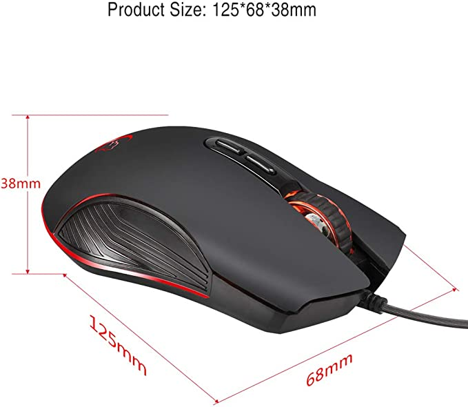 YUEYU Gaming Mouse Silent Click 7 Colors LED Light Optical Game Mice Ergonomic USB Wired with 3200 DPI and 6 Buttons for PC Computer Laptop Desktop Mac