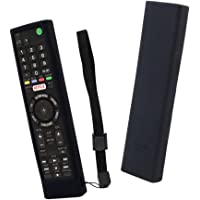Sony Smart TV Remote Case SIKAI Shockproof Silicone Case for Sony RMF-TX300U RMT-TX200U RMT-TX102U RMF-TX200U Android TV Voice Netflix Remote Skin-Friendly Washable with Lanyard (Black)