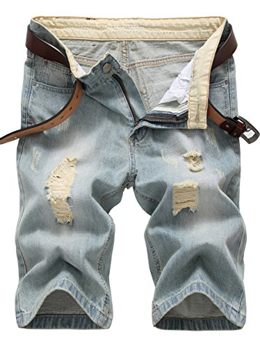 Shorts Vintage Distressed (IWOLLENCE Men's Fashion Ripped Distressed Straight Fit Denim Shorts with Hole Vintage Blue-US 34)
