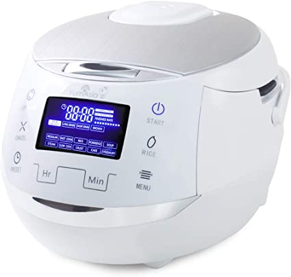 Yum Asia Sakura Rice Cooker with Ceramic Bowl and Advanced Fuzzy Logic / 6 Rice Cook Functions, 6 Multicook Functions, Motouch LED Display (1.5 Litre) 220-240V UK/EU Power (White and Silver): Amazon.co.uk: Kitchen & Home