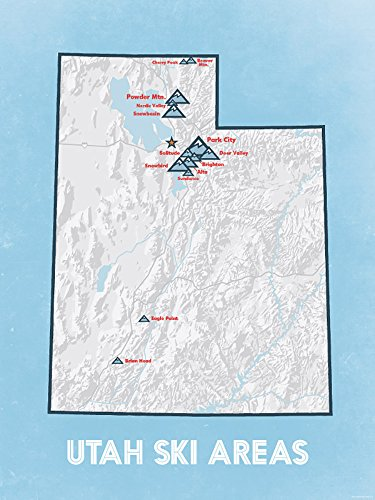 Utah Ski Resorts Map 18x24 Poster (White & Light Blue)