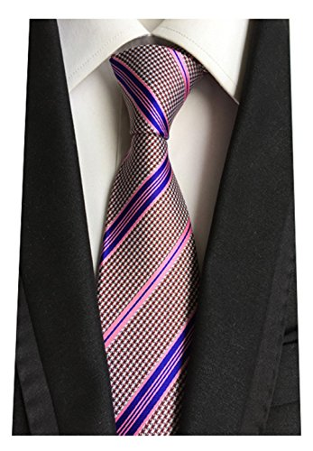 MENDENG New Mens Stripe Paisley 100% Silk Necktie Classic Striped Formal Ties (One Size, Pink and Purple Stripe)