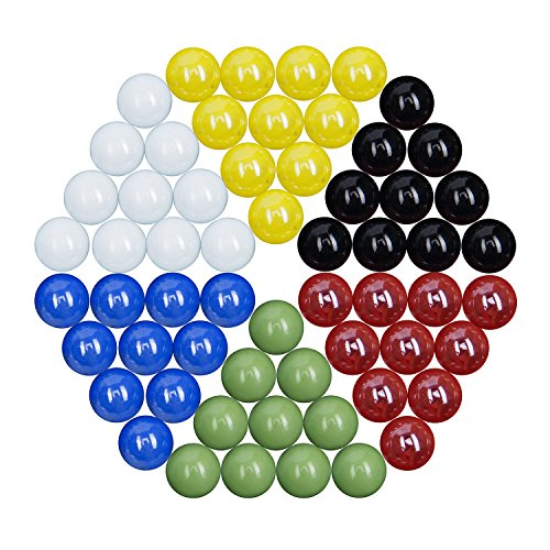 - Elongdi Glass Marbles for Chinese Checkers, Set of 60 Chinese Checkers Marbles 16mm, 10 of Each Color with Potable Container, for Marble Run, Marbles Game, Chinese Checkers