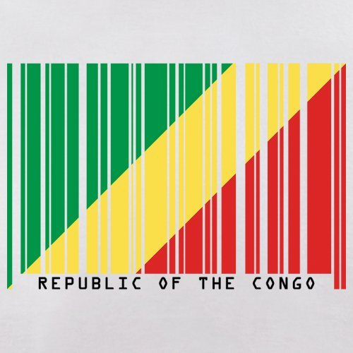 Republic of the Congo / Republik Kongo Barcode Flagge - Herren T-Shirt - Weiß - XXXL