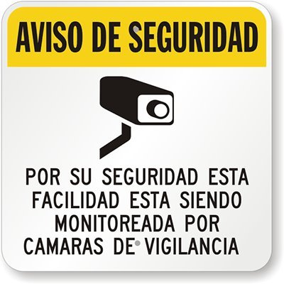 Amazon.com: Security Notice - Bilingual Sign (with Graphic), 18