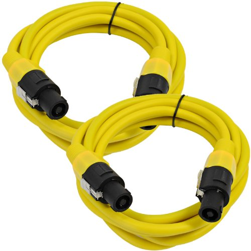 Seismic Audio TW12S10Yellow-Pair Pair of 12 Gauge 10-Feet Yellow Speakon to Speakon Speaker Cable by Seismic Audio