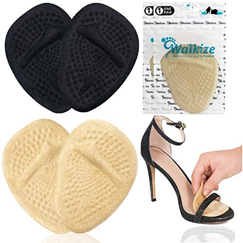 Metatarsal Pads | Metatarsal Pads for Women | Ball of Foot Cushions (2 Pairs Foot Pads) All Day Pain Relief and Comfort One Size Fits Shoe Inserts for Women (Black & Beige)