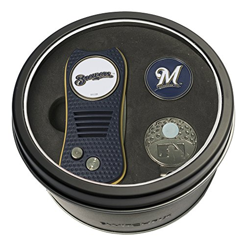(Team Golf MLB Milwaukee Brewers Gift Set Switchblade Divot Tool, Cap Clip, & 2 Double-Sided Enamel Ball Markers, Patented Design, Less Damage to Greens, Switchblade Mechanism)