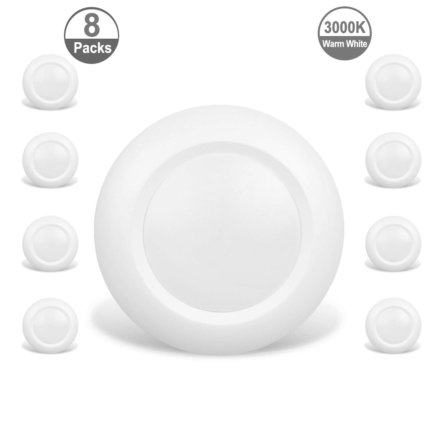 JULLISON 8 Packs 6 Inch LED Low Profile Recessed & Surface Mount Disk Light, Round, 15W, 900 Lumens, 3000K Warm White, CRI80, Driverless Design, Dimmable, Energy Star, ETL Listed, White