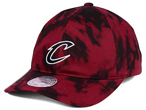 Mitchell & Ness Cleveland Cavaliers NBA Multicolor Acid Wash Strapback Dad Hat (Maroon) Cleveland Cavaliers Nba Pattern