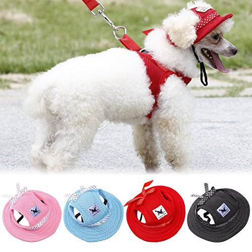 Pets Corner Market 4 Colors Pet Dog Hat Pet Dog Mesh Porous Sun Cap Hat with Ear Holes for Small Dogs Size S M (Medium, Pink)