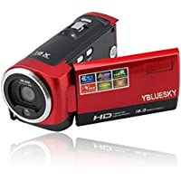Digital Video Camcorder, YBLUESKY 720P Digital Camera 16mp with 16x Zoom and 2.7 TFT LCD Rotation Screen HD, Red