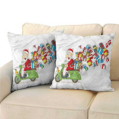 RuppertTextile Santa Square Pillowcase Speeding Scooter Packages Mildew Proof W13 x L13