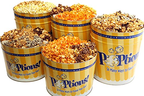 POPtions! Gourmet Popcorn The Best of POPtions! (10th Anniversary)-White Cheddar, Over The Top, Caramel Cheddar (Chicago Style) 2 Gallon (3-Way Tin)