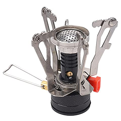 NEWSTYLE Camping Stove - Ultralight Portable Outdoor Backpacking Stove with Piezo Ignition, Orange - Ignition Stove