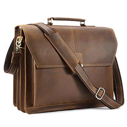 Kattee Vintage Top Leather Briefcase,17'' Laptop Messenger Bag with Push Button by Kattee