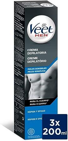 Crema Depilatoria Hombre   Veet for Men   Piel Sensible   Pack 3 x 200 ml y Neceser de Regalo