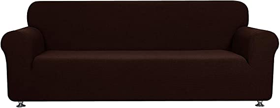 Luxury Home Collection 1 Piece Sure Fit Stretch Fabric Slipcover For Sofa Solid Brown/Chocolate