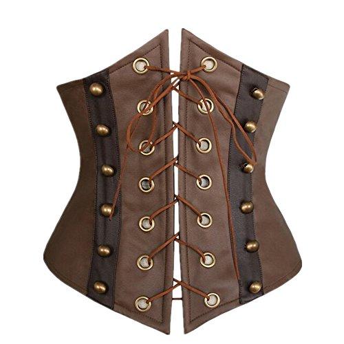 Little Hunter Women's Plus Size Faux Leather Corset Lace-up Front Bustier Underbust Corset Belt ()