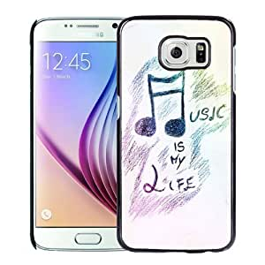 Beautiful Custom Designed Cover Case For Samsung Galaxy S6 With Hand Painted Music Is My Life Phone Case